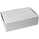 1 Piece Lock Corner White Bakery Box - 14 in. x 10 in. x 4 in.