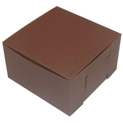 1 Piece Lock Corner Brown Bakery Box - 7 in. X 7 in. X 4 in.