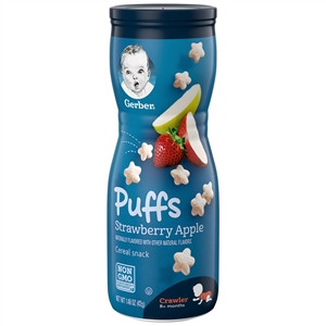 Gerber Graduates Puffs Apple Strawberry Baby Cereal Snack - 1.48 Oz.