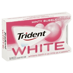 Trident White Gum Minty Bubble Sugar Free