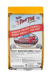 Bobs Red Mill Organic Medium Grind Cornmeal Whole Grain - 25 Lb.