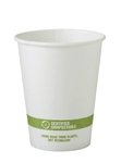 FSC Mixed Paper Hot White Biodegradable Green Stripe Cup - 12 Oz.