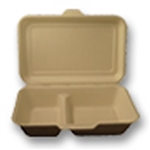 Unbleached Plant Fiber Two Compartment Containers with Hinged Lid - 9 in. x 6 in. x 2.5 in.