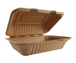 Compostable Hoagie Box Takeout Container Sugar Cane - 9 in. x 6 in. x 2.5 in.