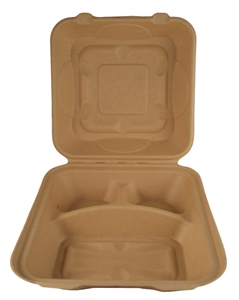 Unbleached Three Compartment Hinged Takeout Container Biodegradable Sugar Cane - 9 in. x 9 in. x 3 in.