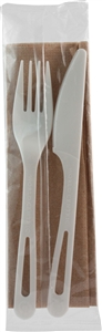 Assorted Cutlery Kit Fork, Knife, Napkin White Plastic