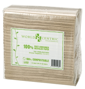 Unbleached 2 Ply Dinner Napkins Recycled Paper 100 Percentage Post Consumer - 15 in. x 16 in.