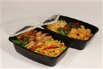 Rectangular Reusable Plastic Container Black and Clear Lid - 28 Oz.