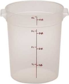 Round Translucent Storage Container - 4 Qt.