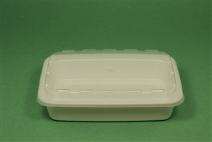 Rectangular White Container with Clear Lid - 16 Oz.