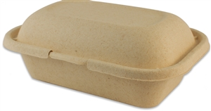 Compostable Unbleached Miscanthus Fiber Clamshell - 9 in.x 6 in.x 3 in.