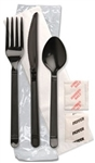 Forum Ebony Fork Knife Spoon Kit Salt and Pepper Napkin