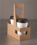 Standard 2 Cup Paper Drink Carrier Plain Kraft