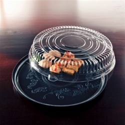 EMI Yoshi Deli Mate Round Clear Tray with Dome Pet Lid - 16 in.
