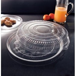 EMI Yoshi Deli Mate Round Clear Tray with Dome Pet Lid - 18 in.