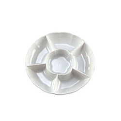 EMI Yoshi Round 6 Compartment White Tray - 12 in.