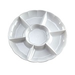 EMI Yoshi Round Dome 7 Compartment White Tray - 18 in.