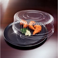 EMI Yoshi Round Black Tray with Dome OPS Lid - 14 in.