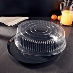EMI Yoshi Deli Max Black Round 18 in. Trays with Dome OPS Lids