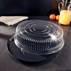 EMI Yoshi Deli Max Round Black Tray with Dome Pet Lid - 18 in.