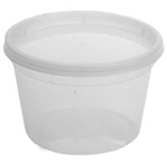 Combo Polypropylene Cylinder Cups and Lids Clear - 16 Oz.