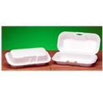 Quality-To-Go Sandwich Containers, 3.56in.Wx7.38in.Lx2.25in.H, Oblong, Hinged, White
