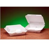 Snap-It Carryout Containers, 9.25in.Wx10.25in.Lx3.25in.H, 3-Compartment, Hinged, Snap-It Lid, White