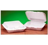 Snap-It Carryout Containers, 7.63in.Wx8.44in.Lx2.38in.H, 1-Compartment, Hinged, White