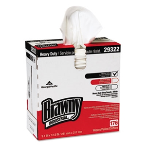 Brawny Heavyweight HEF Disposable Shop White Towels - 9 in. x 12.5 in.