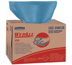 WypALL X80 ShopPro Shop Towels, 1 Ply, 12.5in.Wx16.8in.L, Blue, Heavy-Duty, Brag Box