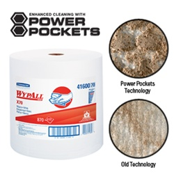 WypALL X70 Manufactured WorkHorse Rags with Power Pockets, 1 Ply, 12.5in.Wx13.4in.L, Jumbo, White