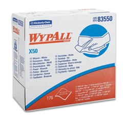 WypALL X50 Reinforced Towels, 1 Ply, 9.1in.Wx12.5in.L, White, Pop-up