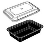 Versatainer Container and Lid Combos, 6in.Wx8.5in.Lx2in.D, 38 oz, Rectangular, Base: Black, Lid: Clear