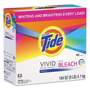 Tide Powder Laundry Detergent with Bleach, 144 oz Box, White, Powder, Scent: Perfumed