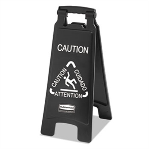 Executive Two Sided Multi-Lingual Black Caution Sign