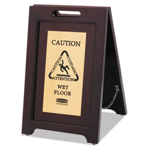 Executive Two Sided Multi-Lingual Wooden Caution Sign