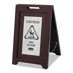Executive 2 Sided Stainless Steel Multi-Lingual Wooden Caution Sign