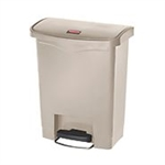 Slim Jim Step-On Resin Front Step Beige Waste Basket - 16.7 in.