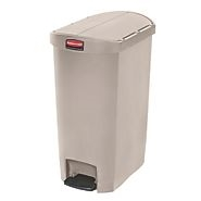 Slim Jim Step-On Resin Front Step Waste Basket Beige - 18 in.