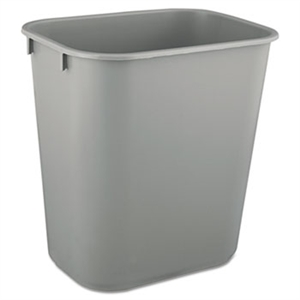 Deskside Rectangular Small Gray Wastebasket - 13.63 Qt.