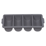 Gray 4 Compartment Cutlery Bin - 21.2 in. x 11.5 in.