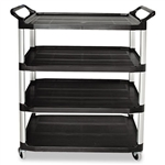 Open Sided 4 Shelf Black Utility Cart - 300 lb.