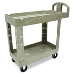 Heavy Duty 2 Shelf Beige Small Utility Cart - 500 lb.