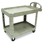 Heavy Duty 2 Shelf Beige Utility Cart - 45.2 in. x 25.9 in.