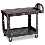 Flat Shelf Black 2 Shelf Utility Cart - 43.9 in. x 25.9 in.