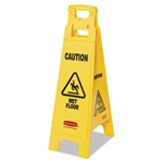 Yellow 4 Sided Floor Sign with Caution Wet Floor