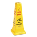Yellow Safety Cone with Multilingual Caution, Wet Floor - 10.5 in.