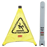 Multilingual 3 Sided Pop-Up Yellow Safety Cone - 21 in. x 20 in.