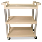 Beige 3 Shelf Utility Cart with 3 in. Swivel Casters - 100 lb.