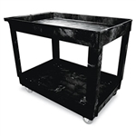 Black 2 Shelf Utility Cart with 4 in. Swivel Casters - 300 lb.